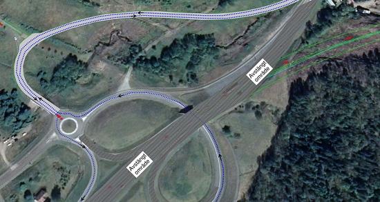 Vy över trafikomledningen Bälinge - klicka på bilden för att se större version