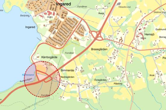 Illustrationen visar att det är den mindre påfarten och avfarten söder om Ingared som ska stängas.