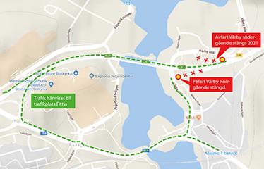 Kartillustration över den kommande avstängningen i Vårby trafikplats