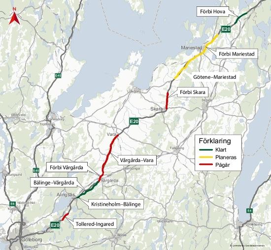 Karta som visar etapperna i utbyggnaden på E20 från söder: Tollered-Ingared - pågående, Kristineholm-Bälinge - klar, Bälinge-Vårgårda - klar, Förbi Vårgårda - pågående, Vårgårda-Vara - pågående, Förbi Skara -pågående, Götene-Mariestad - planerad och Förbi Mariestad - planerad och i norr Förbi Hova - klar.