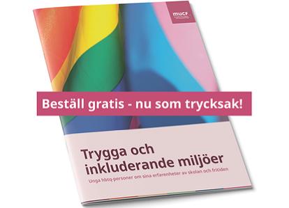 Framsida på intervjustudien Trygga och inkluderande miljöer med text i ett band över: Beställ gratis - nu som trycksak!