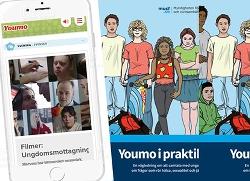"""Illustration med framsidan på vägledningen  """"Youmo i praktiken"""" och sajten youmo.se"""