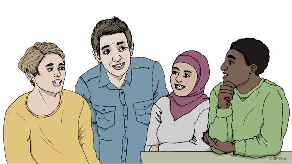Illustration med fyra personer som står och pratar. Illustration: UMO
