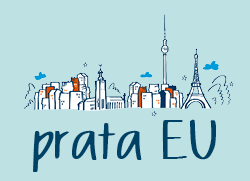 "Illustration: Skyline EU med texten ""prata EU"", illustratör: Maja Larsson"