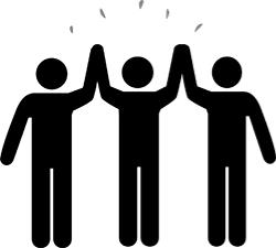 Illustration med människor som håller hand.