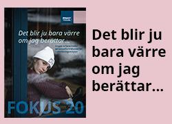"""Bild på omslaget av Fokus 20 och titeln """"Det blir ju bara värre om jag berättar""""."""