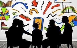 Siluetter av personer i möte. I bakgrunden diagram och pilar i olika färger.