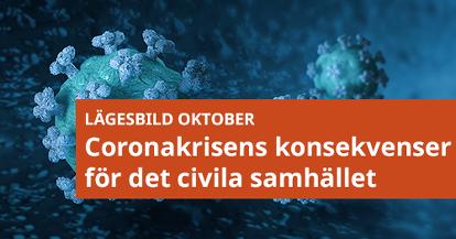 Coronavirus med text: lägesbild oktober - coronakrisens konsekvenser för det civila samhället