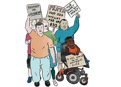 Tecknade unga funktionshindrade som vill ha en utvecklande fritid