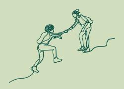 Streckteckning som visar två personer. Den ena hjälper den andra över ett hinder.