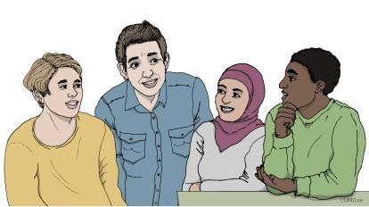 Illustration med fyra personer som står och pratar. Hämtad från webbutbildningen Rätt att veta! Illustration: UMO