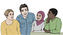 Illustration med fyra personer som står och pratar om webbutbildningen Rätt att veta!