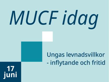 Grafik i blåa nyanser med texten MUCF idag - Ungas levnadsvillkor - inflytande och fritid