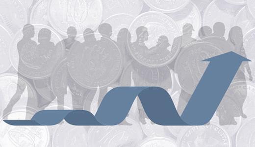 Temabild med en pil mot en bakgrund av människor och mynt