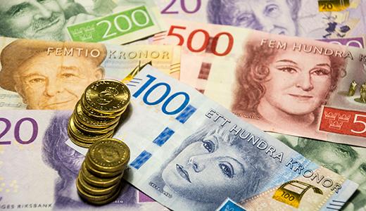 Svenska sedlar och mynt.