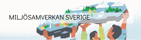 Illustration där ett gäng händer håller upp en 3D-modell av Sverige