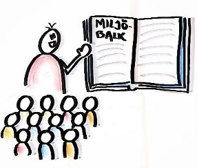 Illustration där en person utbildar en grupp personer i Miljöbalken