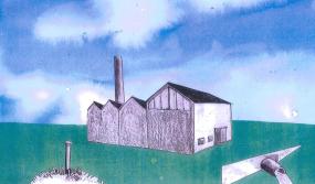 En illustrerad byggnad med skorsten på en grön yta.