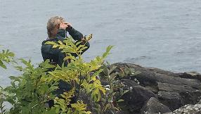En person står vid vattnet och tittar i en kikare.