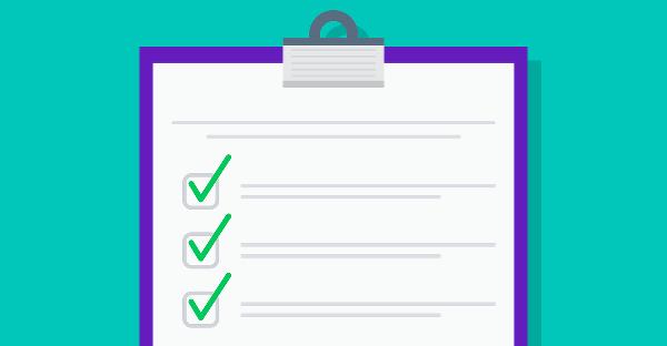Illustration av en checklista med fyrkantiga boxar som är ikryssade med en grön bock eller ett rött kryss.