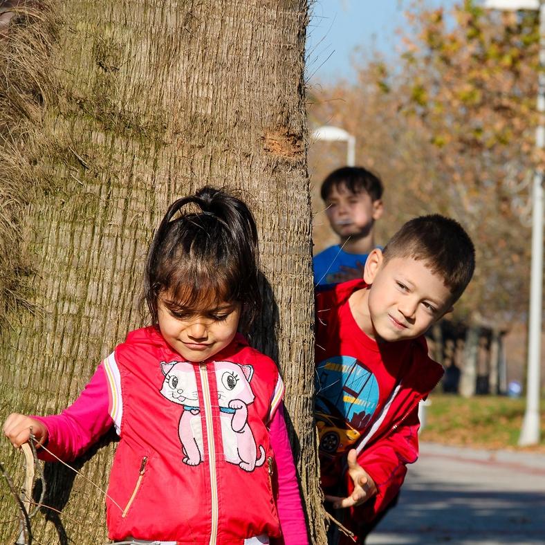 Barn vid ett träd