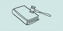 En lagbok och en domarklubba. Illustration