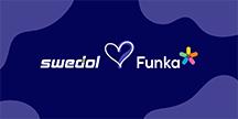 Swedol logga hjärta Funka logga. Illustration