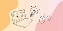 En bärbar dator, en glödlampa och en hand som gör V-tecken. Illustration