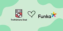Trollhättan stad hjärta Funka logos. Illustration