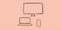 Tre olika skärmar, en stor bildskärm, en laptop och en smartphone. Illustration
