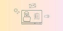 En skärm samt ikoner för inställningar, e-post och ljud. Illustration