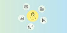 En person och runt om symboler för statistik, video, bilder, text och teckenspråk. Illustration