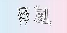 En hand som håller i en smartphone samt en kalender som visar 23 juni. Illustration