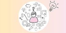 En figur i mitten omgiven av en mängd tankar och ideer. Illustration