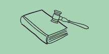 Illustration av en domarklubba och en  bok