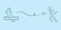 En person som kastar ett pappesrflyg till en annan person. Illustration