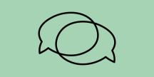 Illustration av två pratbubblor