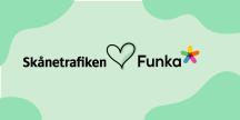 Skånetrafikens logga hjärta Funkas logga