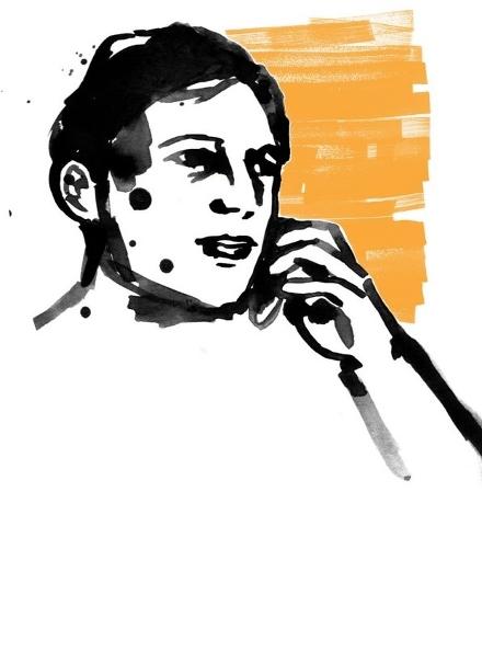 Illustration av en man som pratar i mobiltelefon.