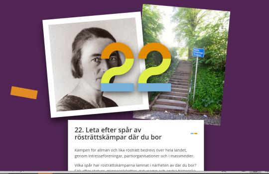 """Skärmdump som visar ett svartvitt foto av en kvinna och ett foto av en trappa. Texten på bilden är """"leta efter spår av rösträttskämpar där du bor."""""""