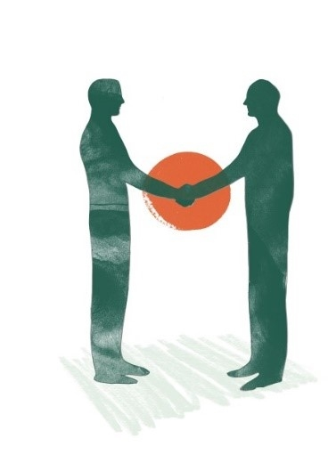 Illustration av två män som skakar hand.