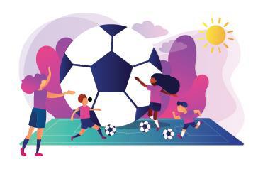Illustration av barn som spelar fotboll.