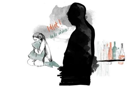 Illustration av en kvinna som kramar en kudde. En figur i förgrunden säger Idiot! Du är värdelös!